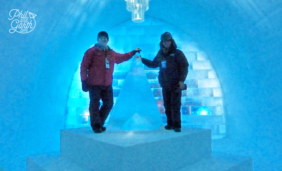 Phil and Garth inside the Icehotel