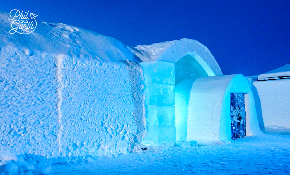 The stunning entrance to the Icehotel