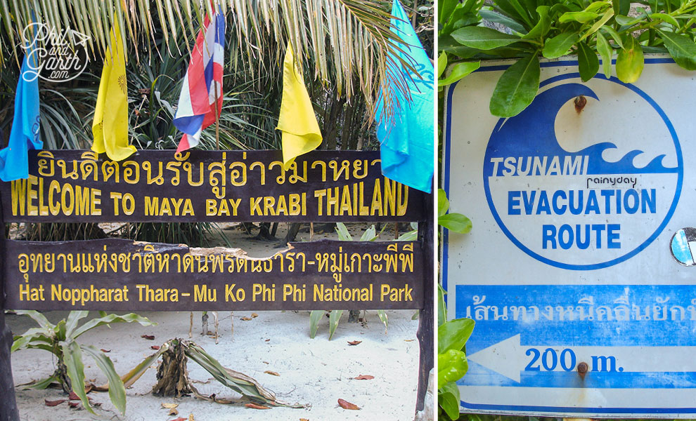 Maya Bay Welcome and Tsunami signs