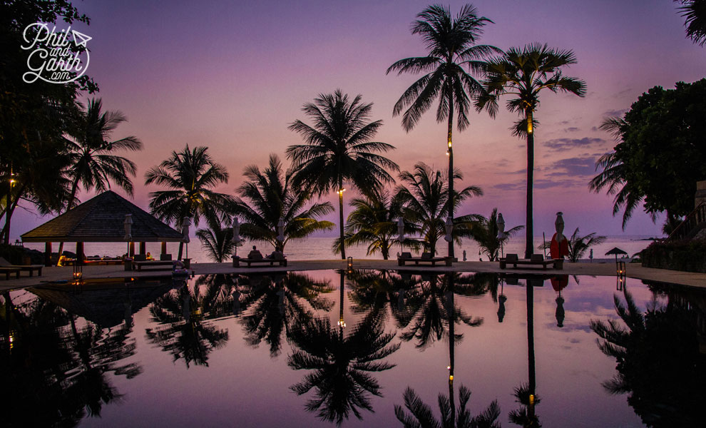 Phuket-the-surin-beautiful-sunset-reflection-pool-travel-review