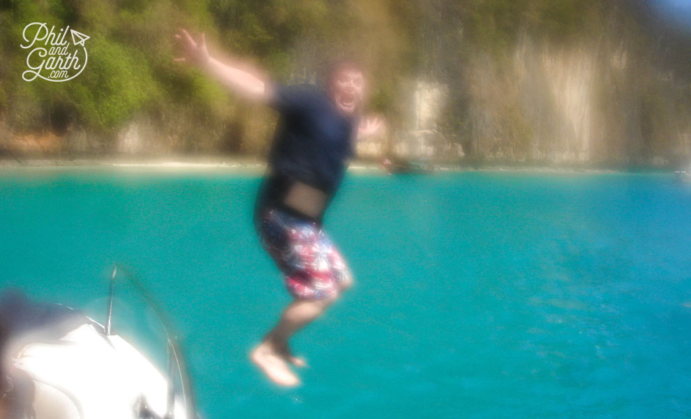 Phuket-Pileh-Lagoon-Phil-jumping-off-the-boat-Ko-Phi-Phi-Leh-travel-review