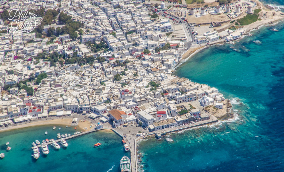 The pretty Mykonos Old Town from the air