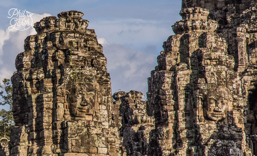 The Bayon's faces really stand out with shadows from the sunshine