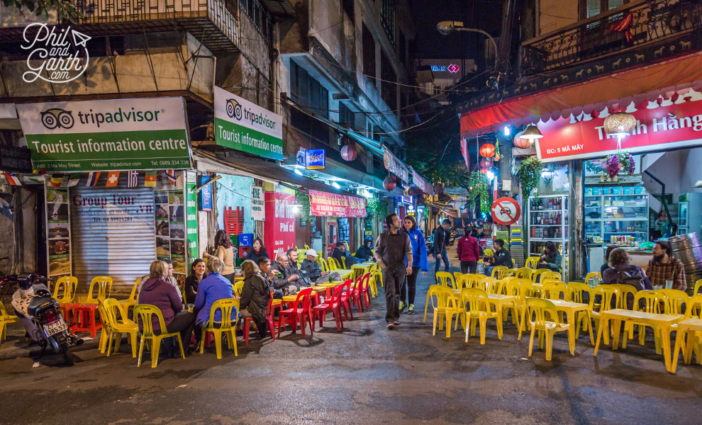 A typical Bia Hoi corner with signature plastic chairs