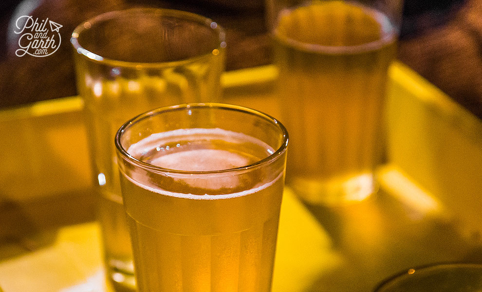 Glasses of Bia Hoi, the world's cheapest beer