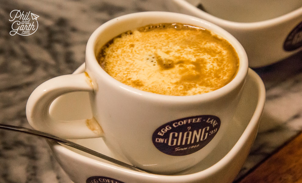 Unique tasting Egg Coffee at Cafe Giang