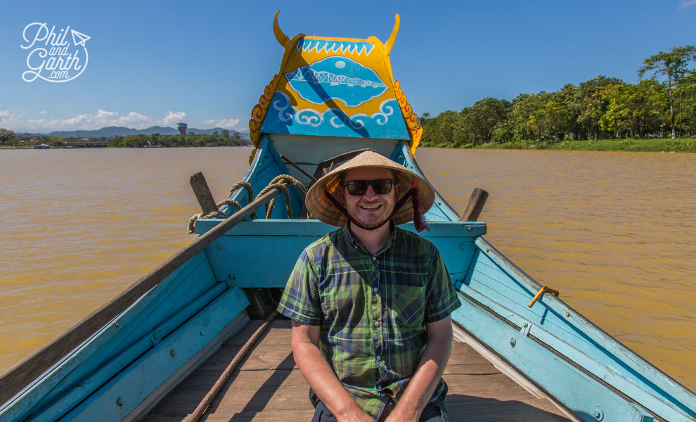 Garth on the Dragon boat along the Perfume River