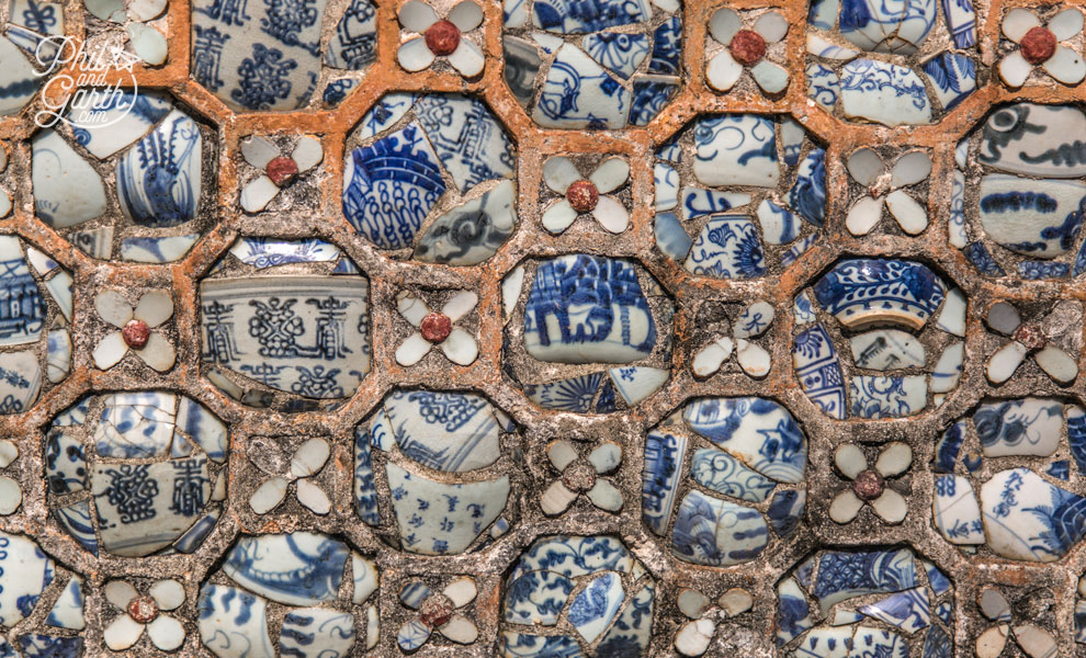 Close up of the tile designs