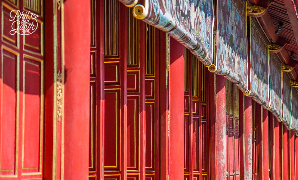 Bright red doors of The Mieu Temple