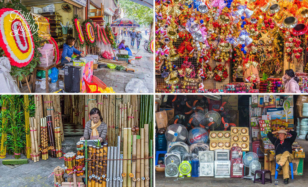 Hanoi's Old Quarter's themed shopping streets