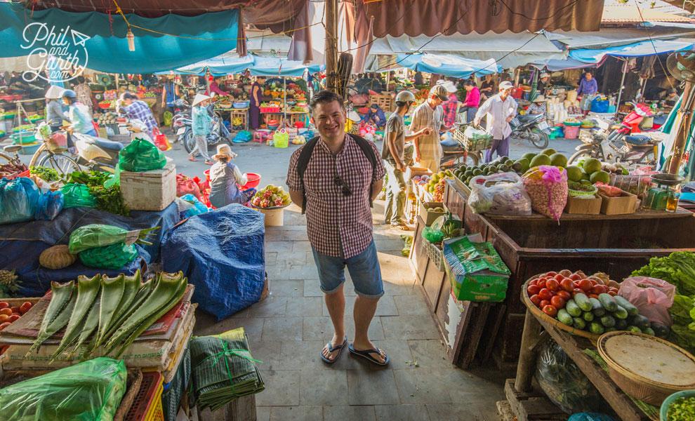 Phil inside the fruit and veg market