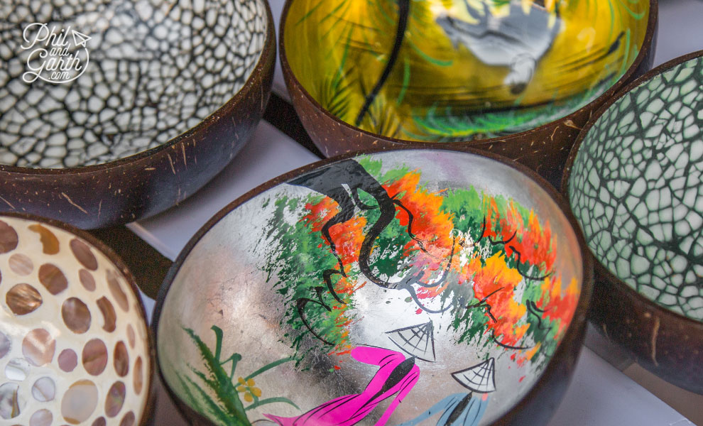 Decorated coconut shells