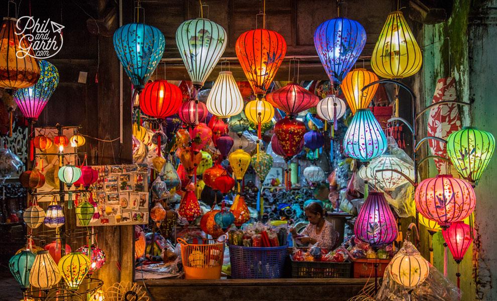 Silk lantern shop at night