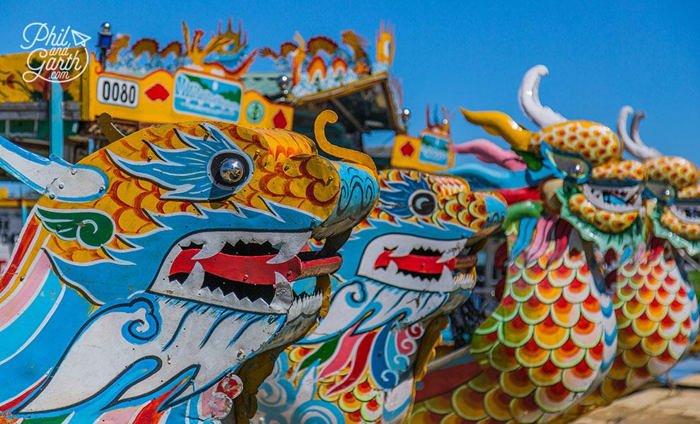 Colourful dragon boats