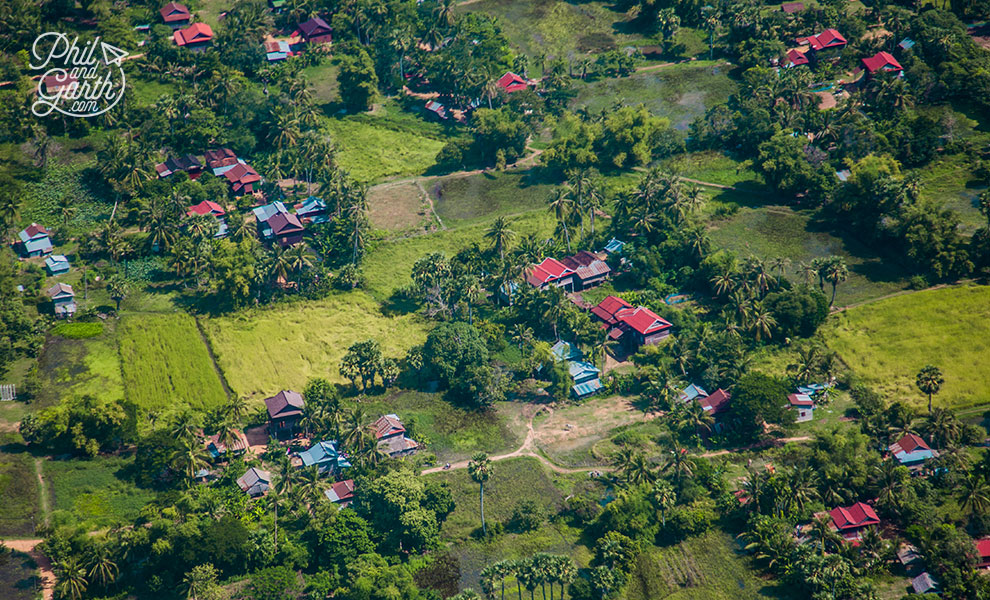 View of the Siem Reap countryside coming into land