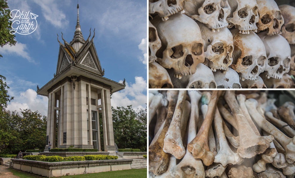 The Choeung Ek Stupa containing the skulls and bones of victims.