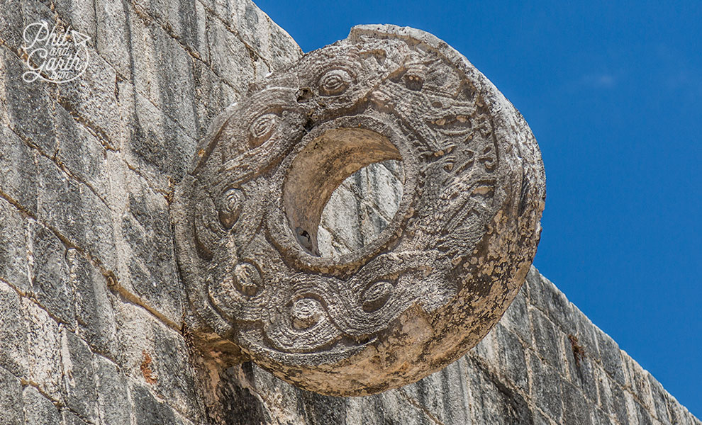 Goal! - the stone ring decorated with snakes and monkeys