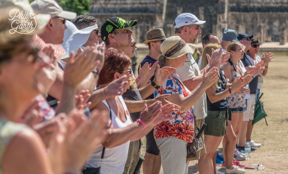Clapping hands to hear the Mexican quetzal bird