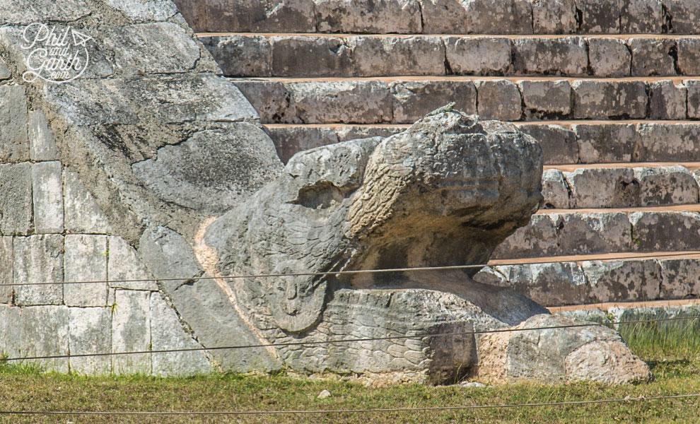 The serpent head of Kukulkán