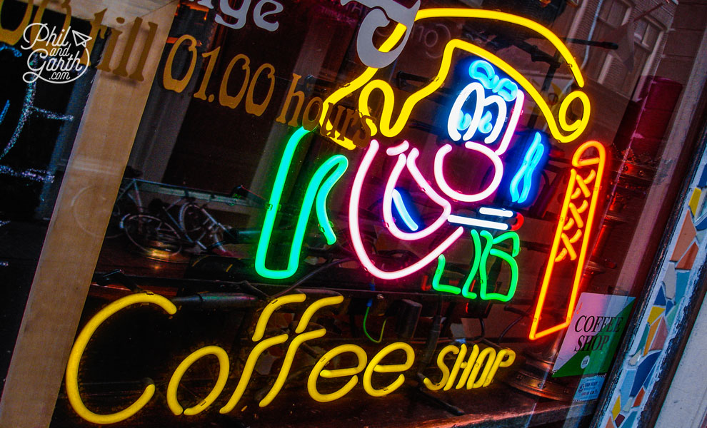 A coffeeshop neon sign