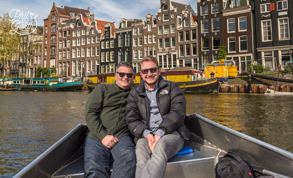 Phil and Garth boating along Amsterdam's canals