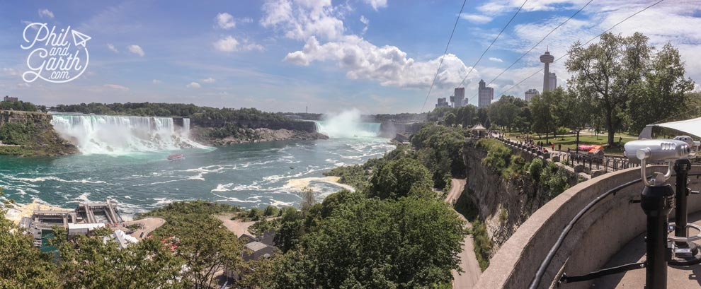 Niagara Falls consists of the American Falls, Bridal Veil Falls and the Canadian Falls