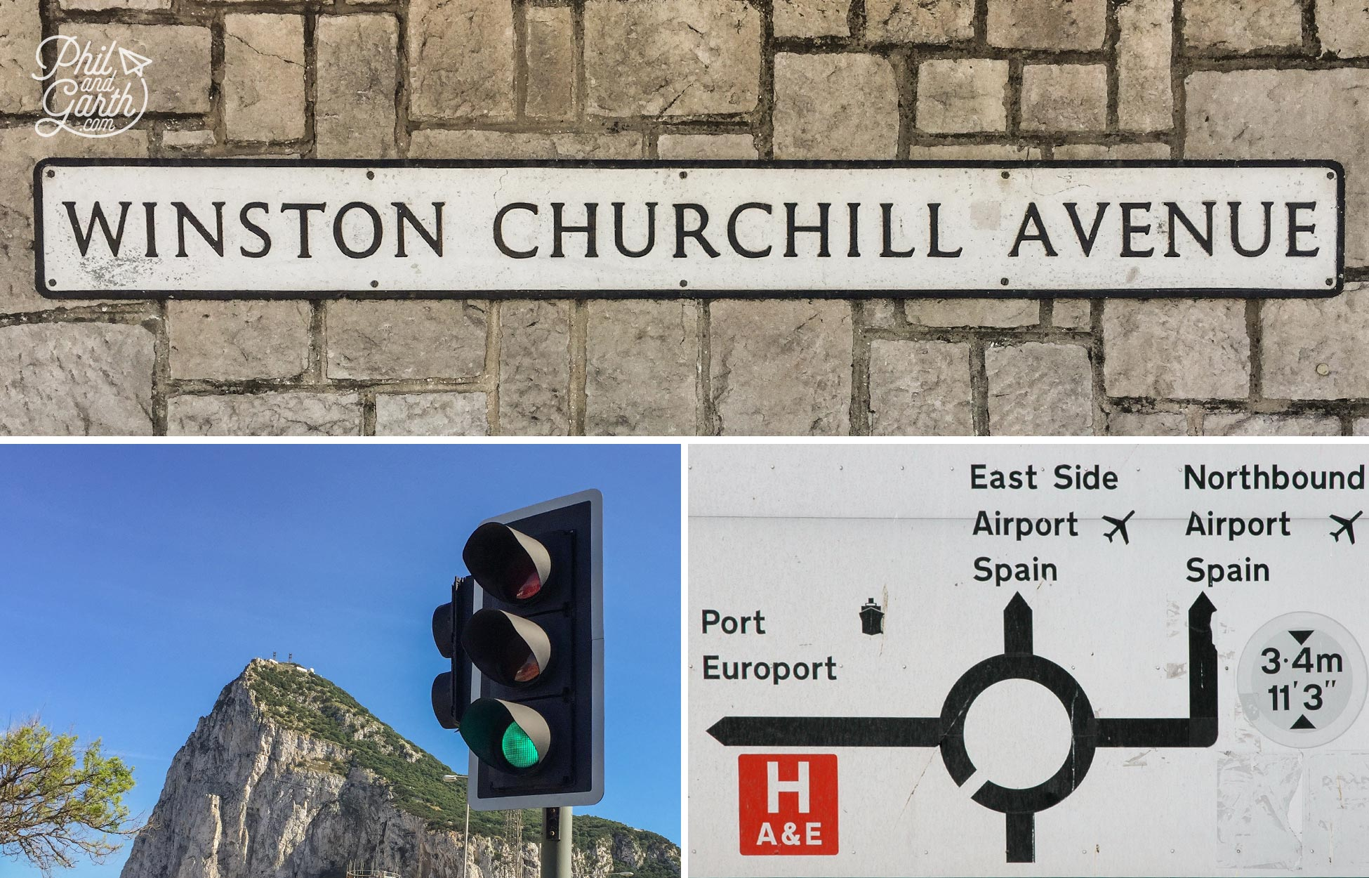 British road signs and traffic lights in Gibraltar