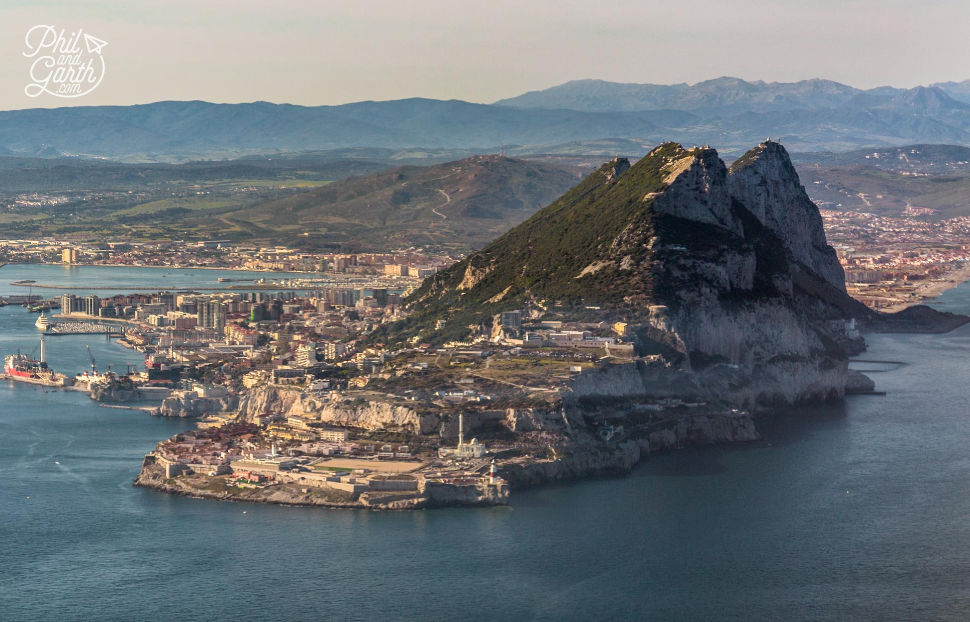 View of Gibraltar on the approach to the airport