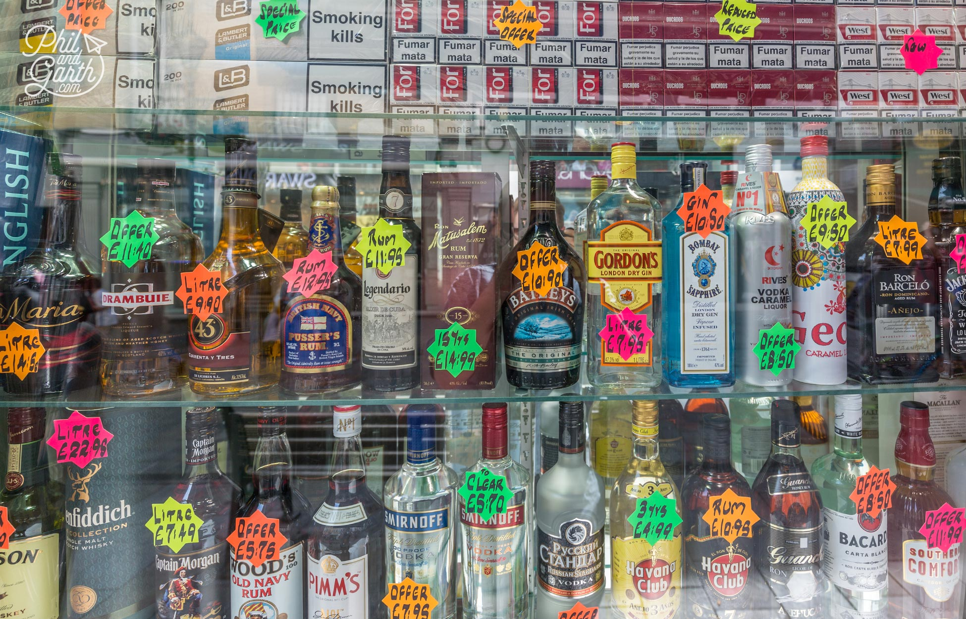 Cheap booze and fags for sale on Main Street