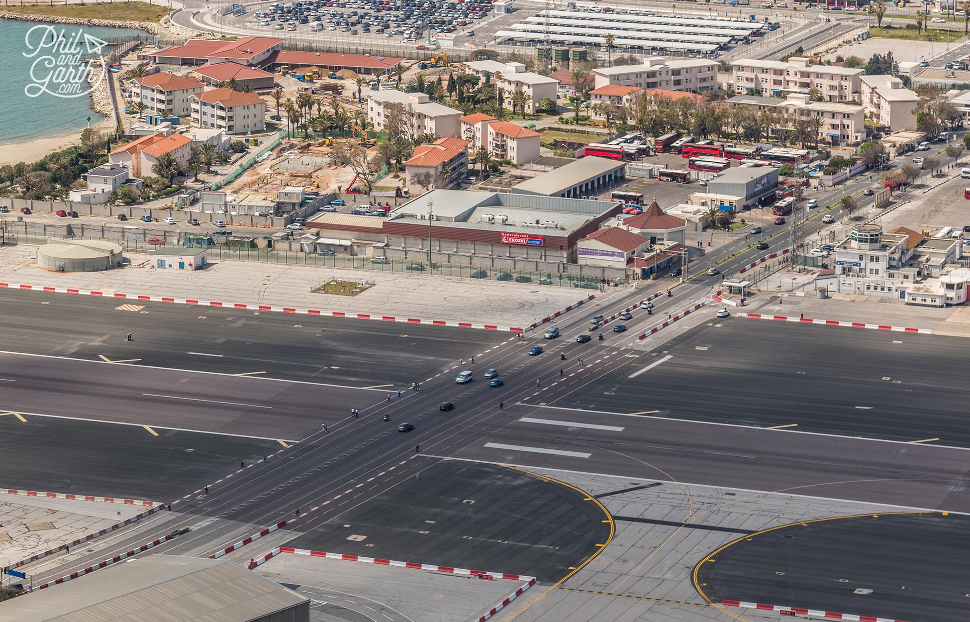 The main road into Gibraltar crosses the runway