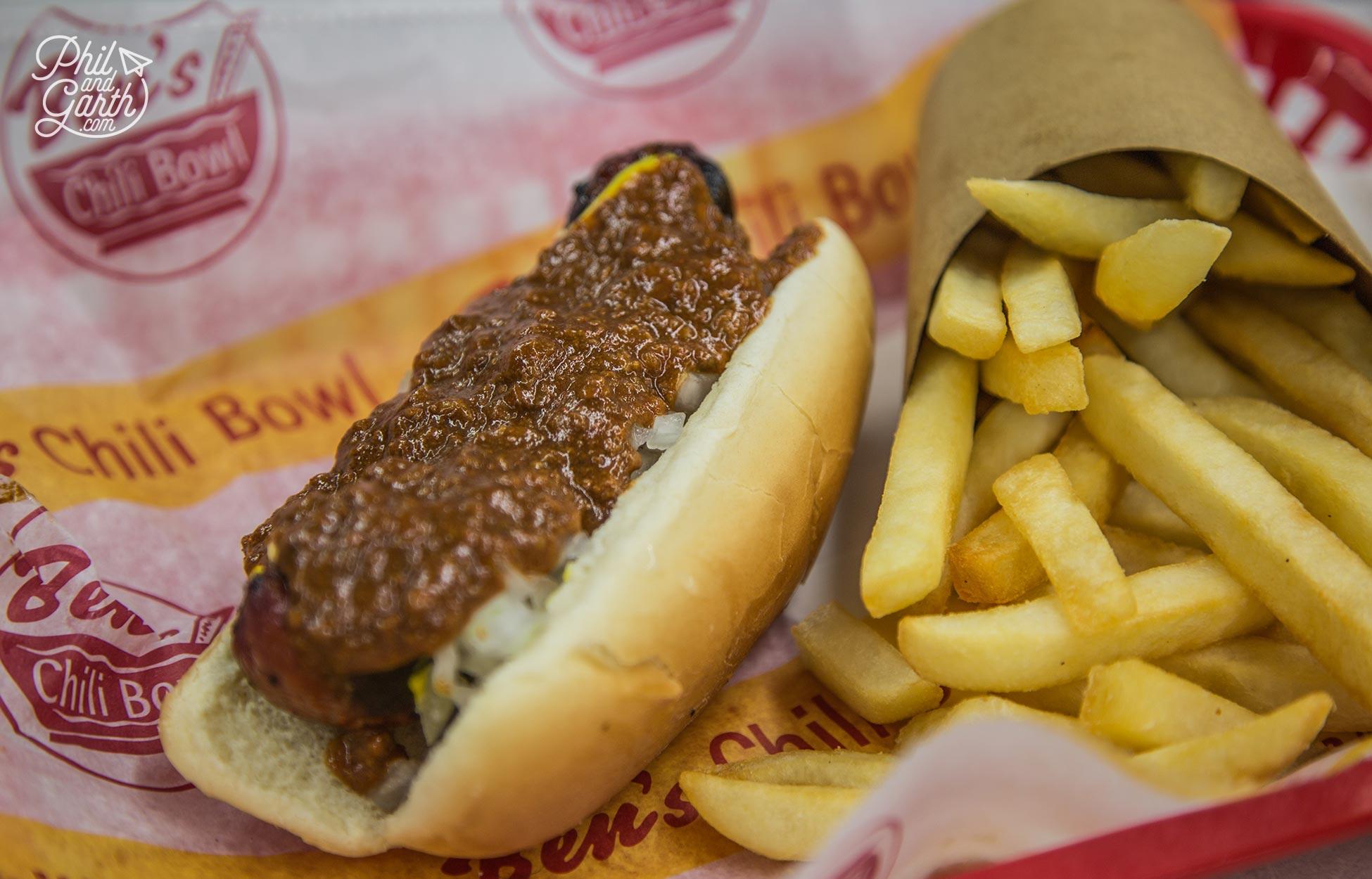 Garth's delicious Chili Half-Smoke Dog
