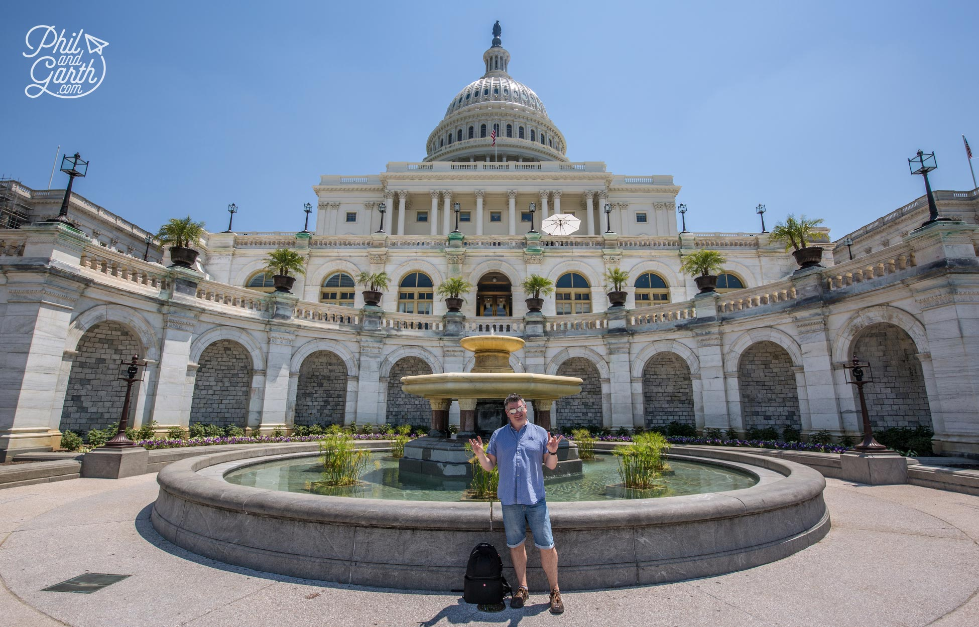 This is where presidential inaugurations take place. Phil doing his best Donald Trump impression.