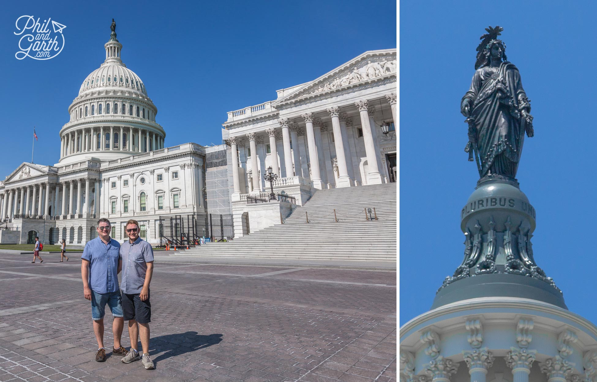 Phil and Garth at the US Capitol & The Freedom Statue close-up