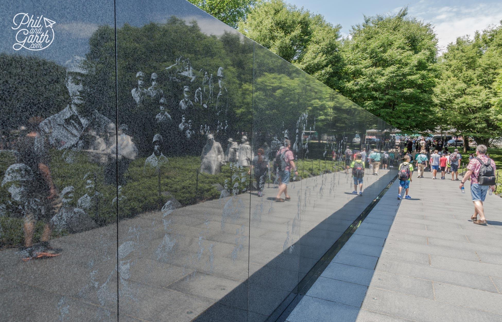 Korean War Veterans Memorial wall - designed to reflect the statues