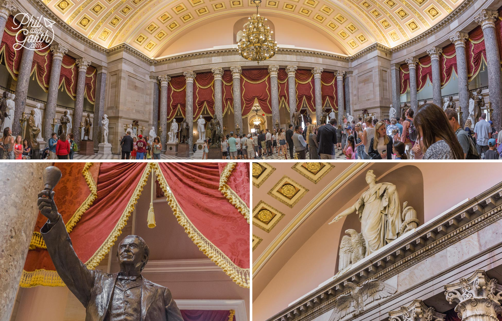 The National Statuary Hall is where Congress used to meet, but the room became too small. It's now used to display statues