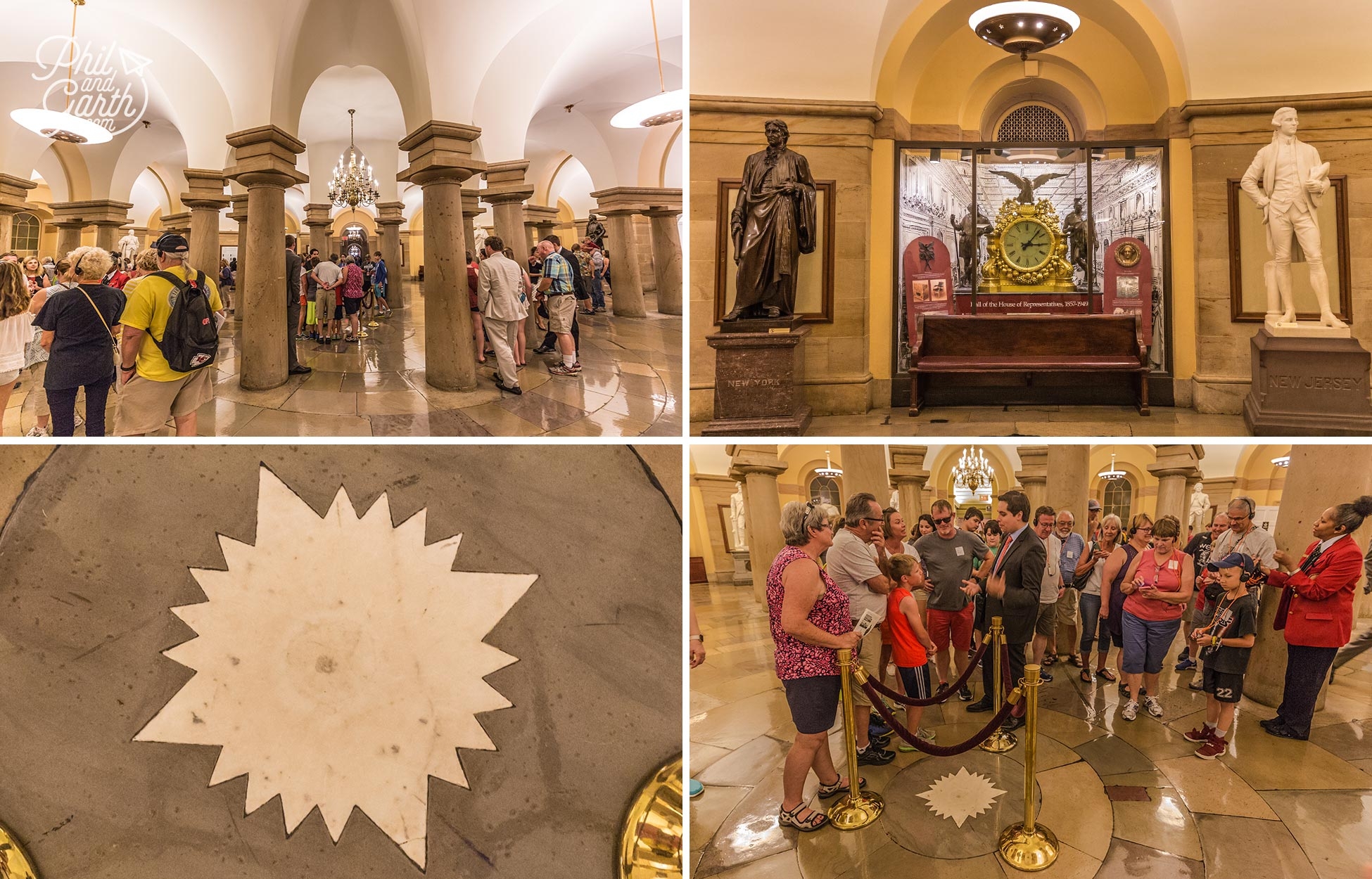 The US Capitol Crypt, the compass marks the spot where the four quadrants of the District of Columbia meet
