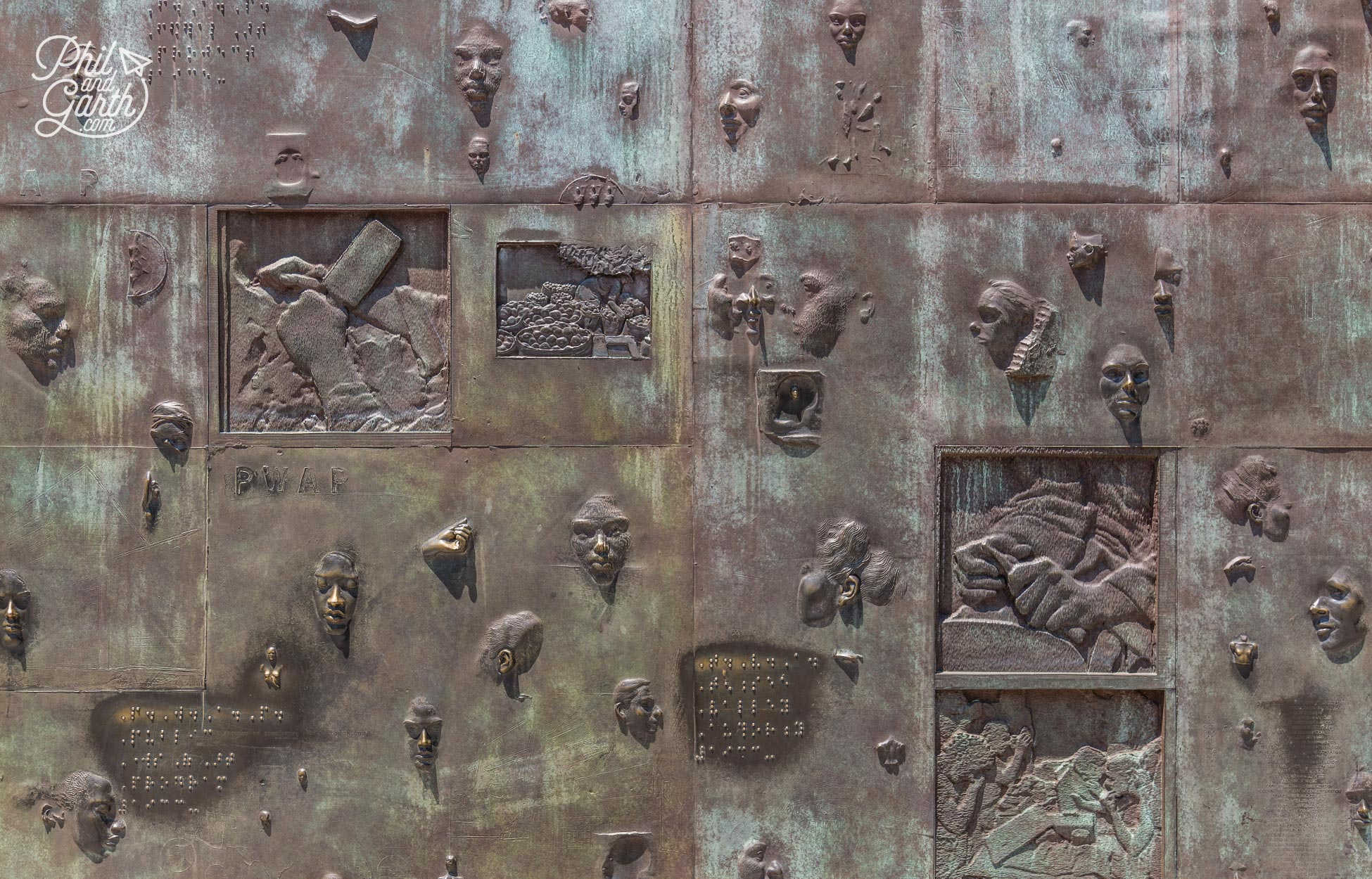 This memorial is really tactile - an area with reliefs and braille