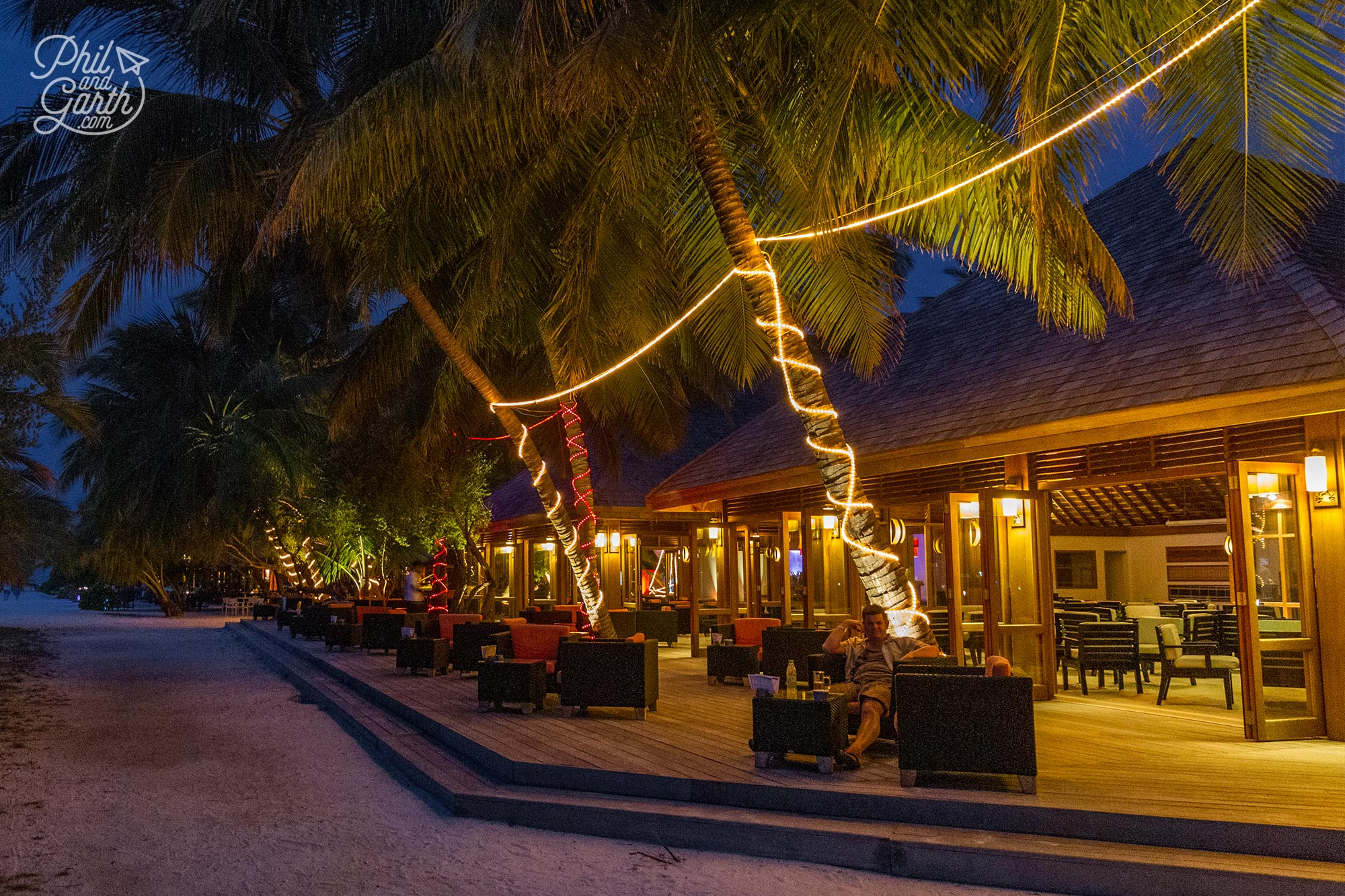Early evening at the outdoor terrace of the Kakuni Bar