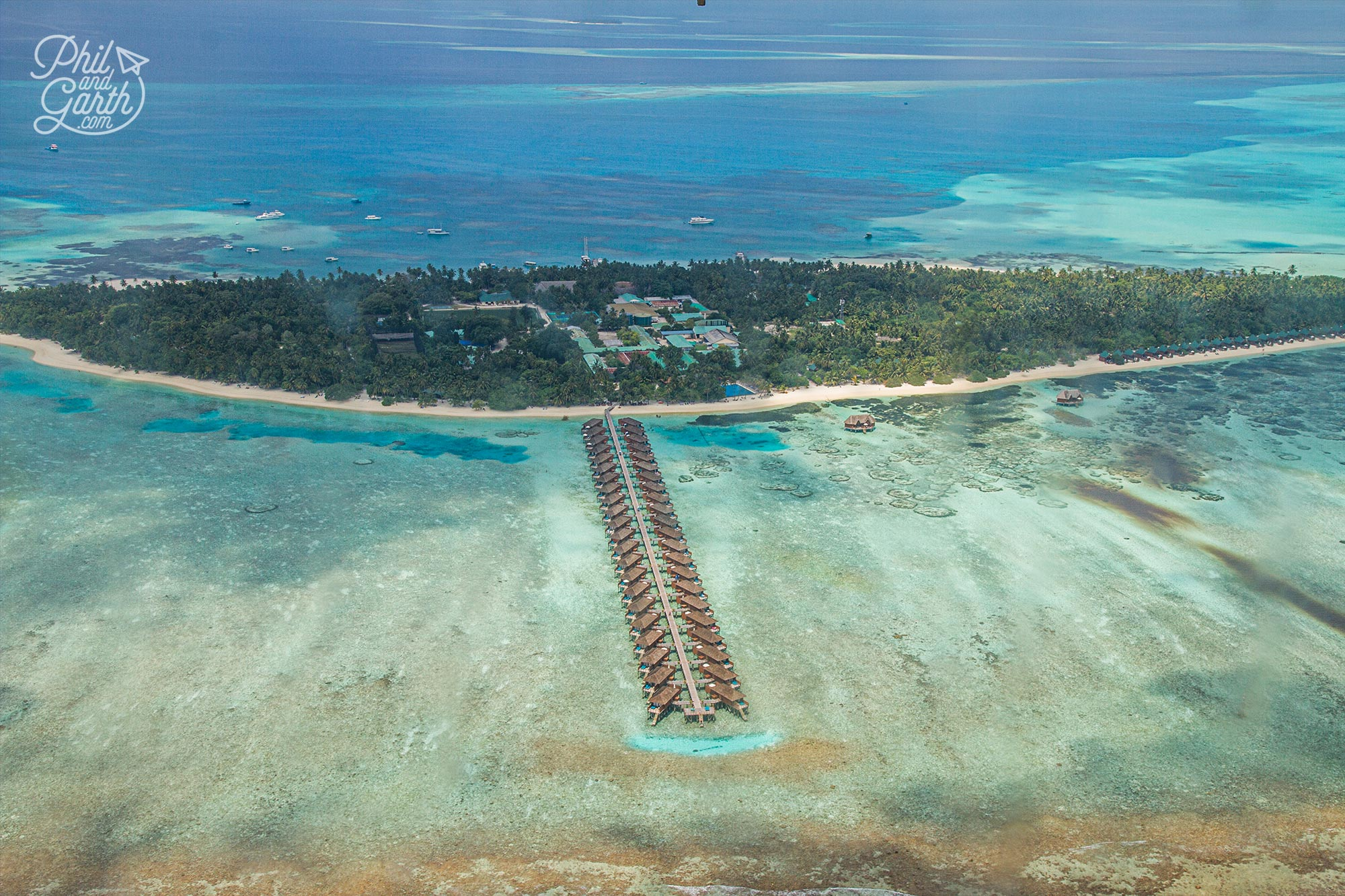 Great view of the Meeru Island Resort from our seaplane sightseeing excursion