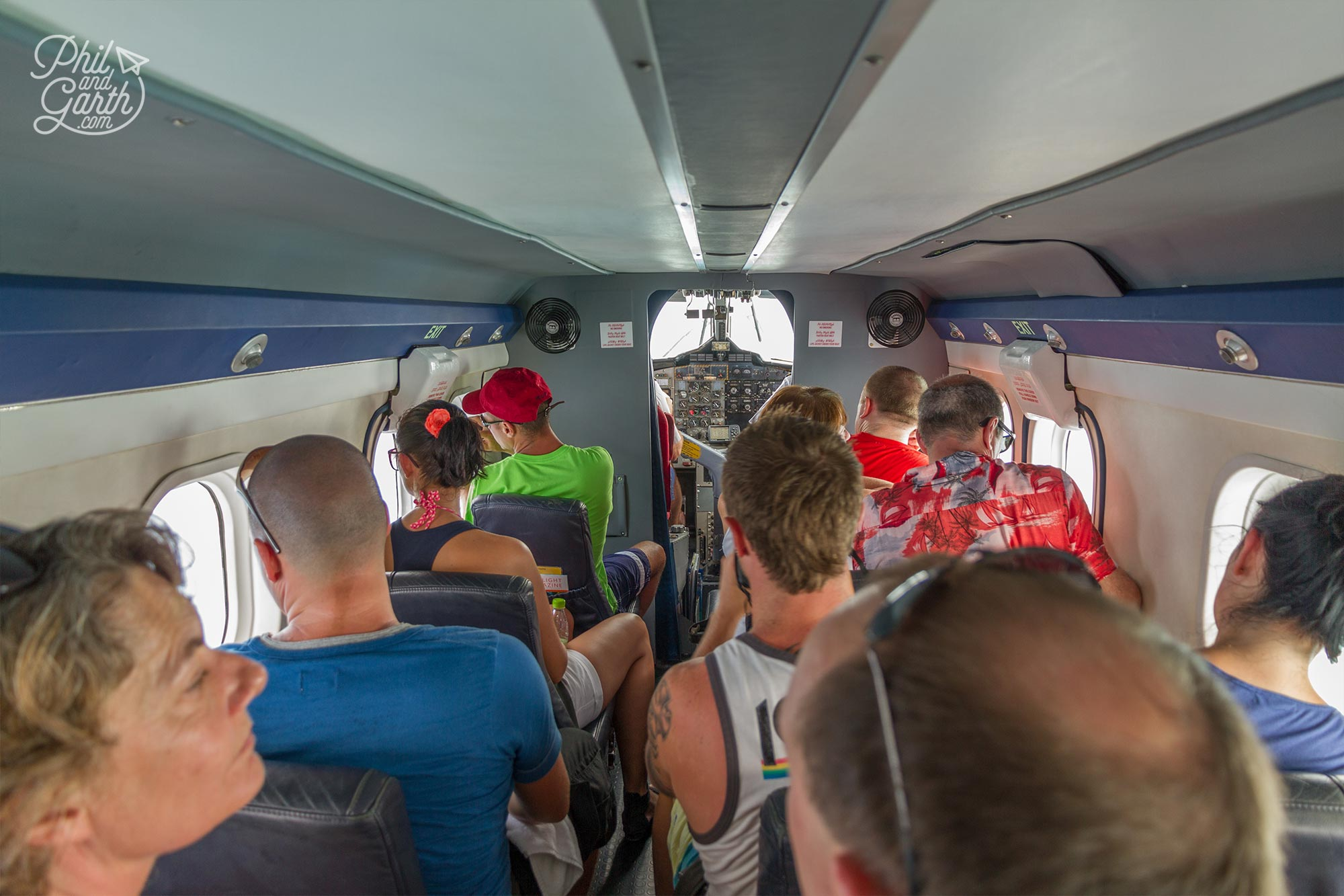 Inside our compact and bijou sightseeing seaplane