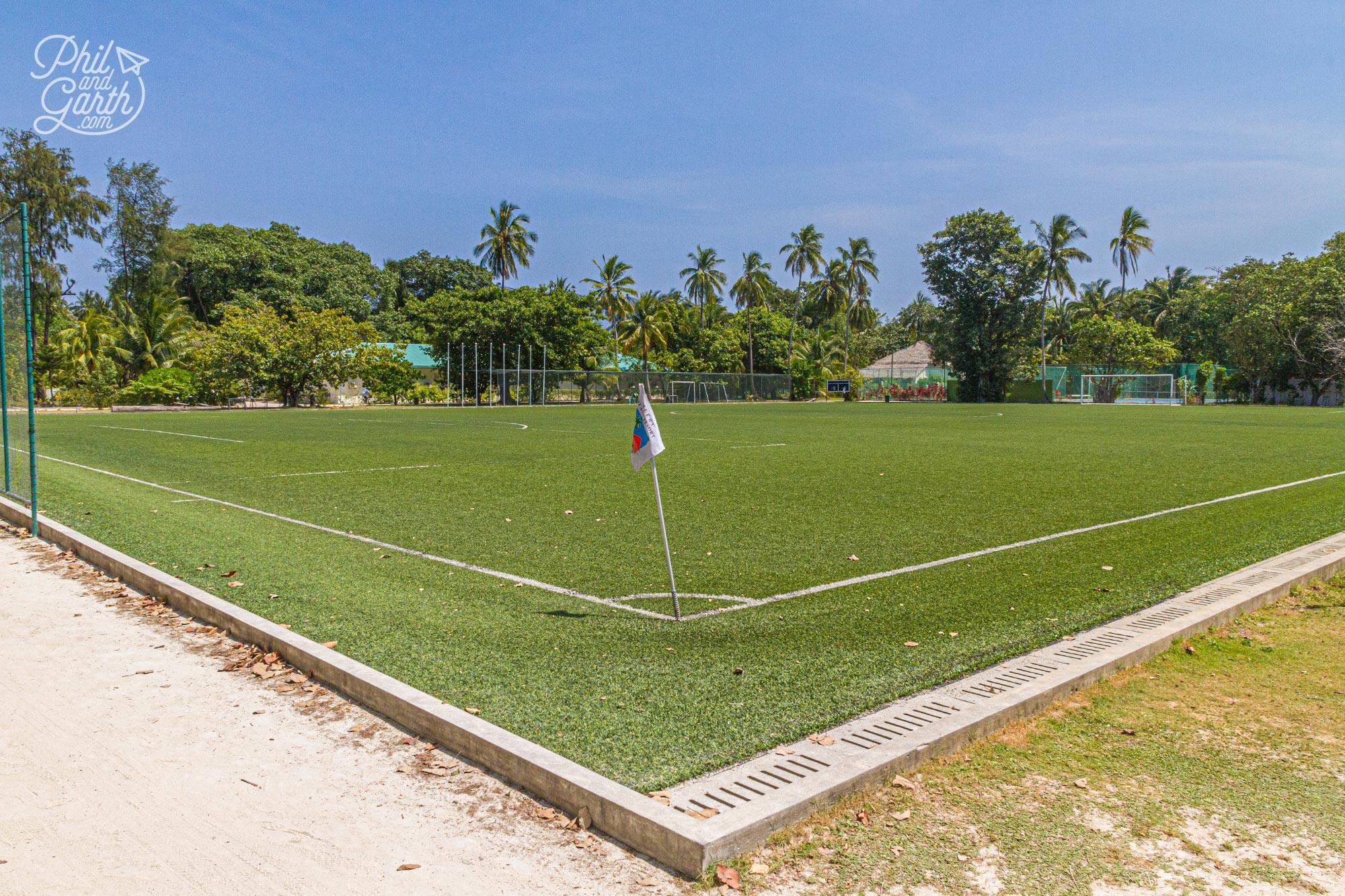 Meeru's staff football pitch