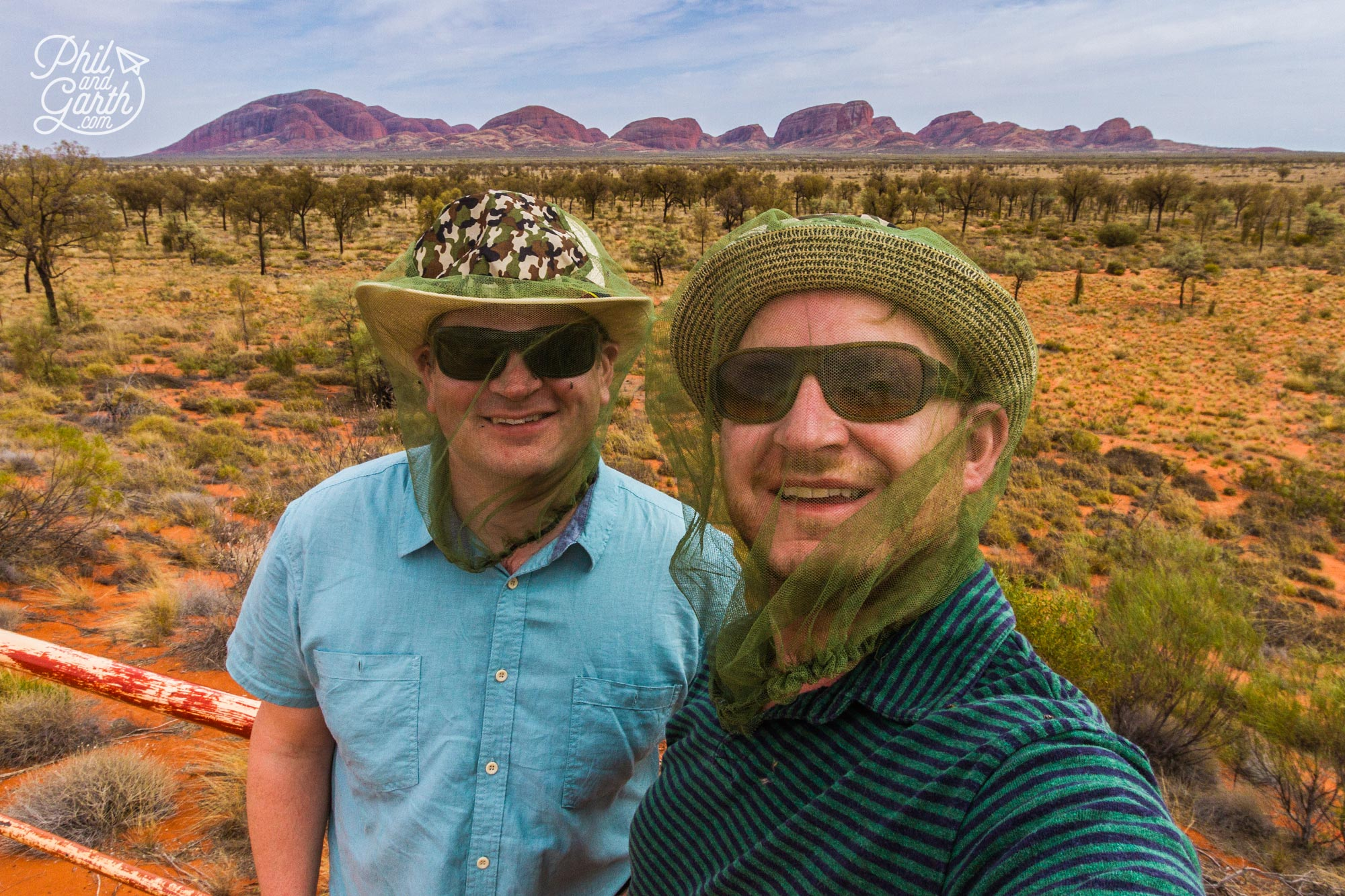 Our attractive face nets at a Kata Tjuta viewpoint