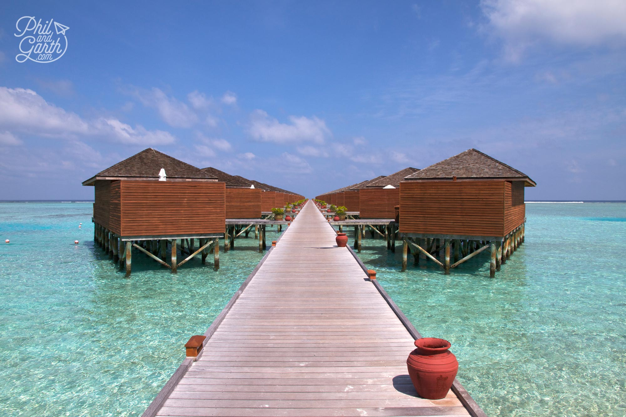 Overwater bungalows are called jacuzzi water villas at Meeru Island