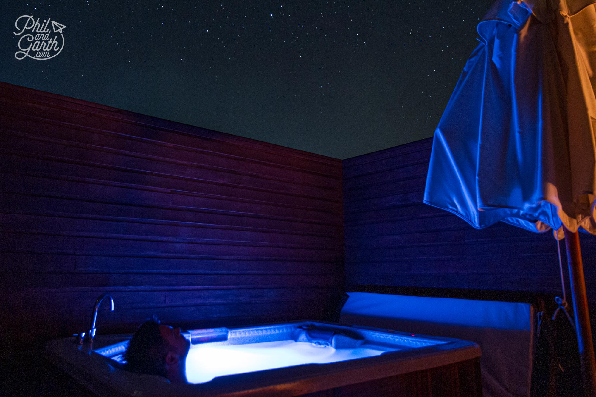 Phil stargazing from our 2 man jacuzzi