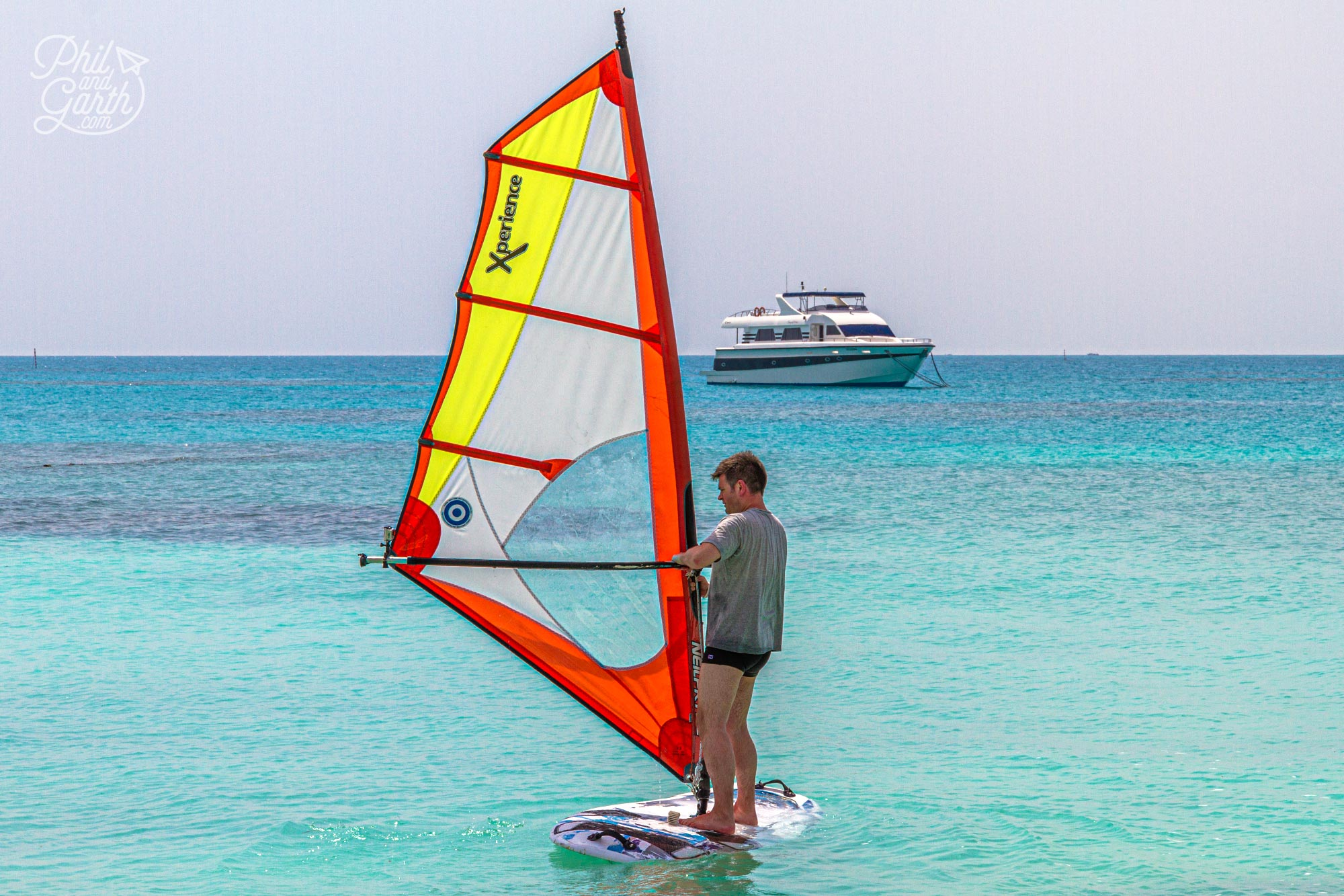 Phil trying his hand at windsurfing