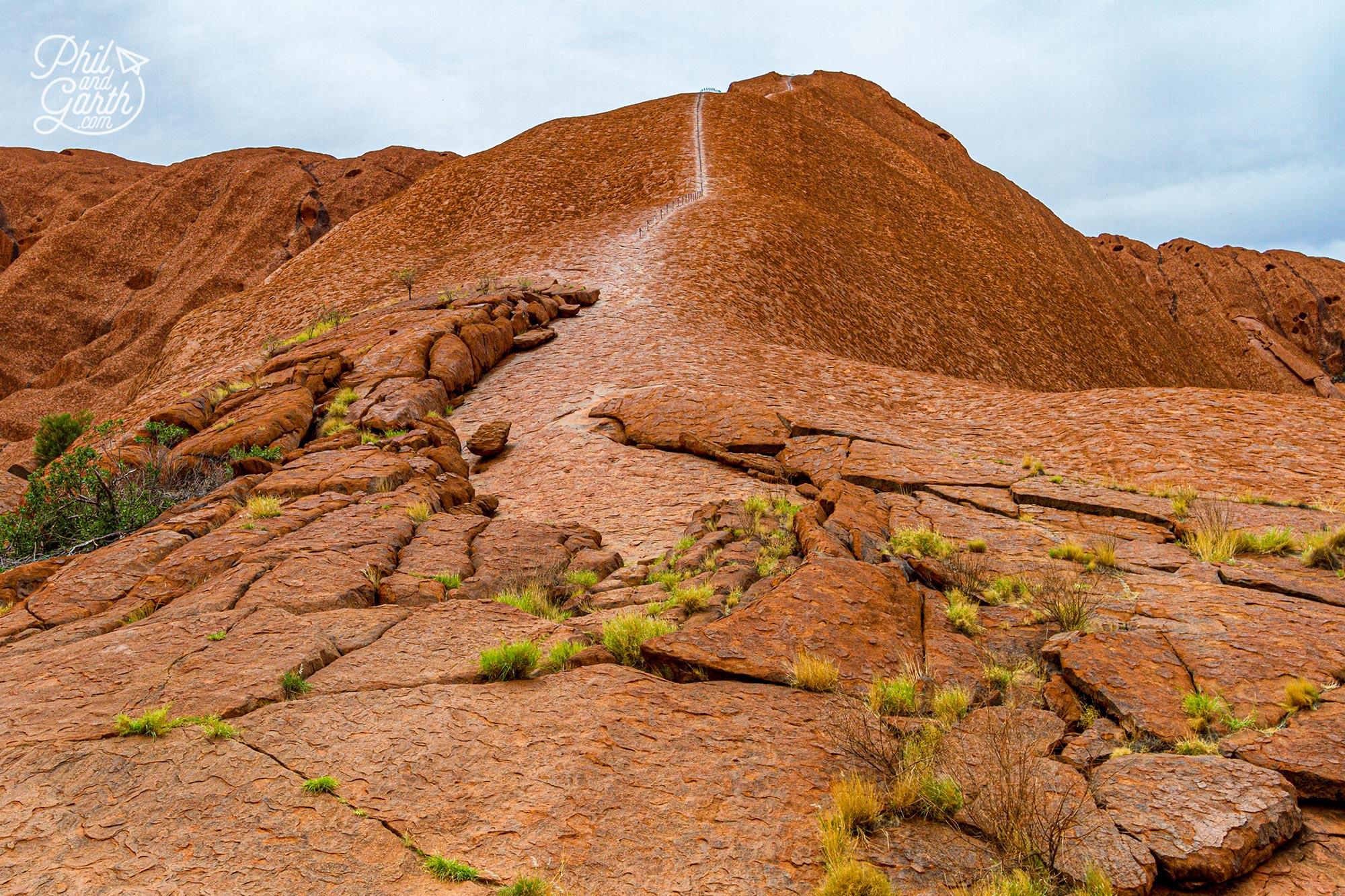 The old hiking path to the top of Uluru