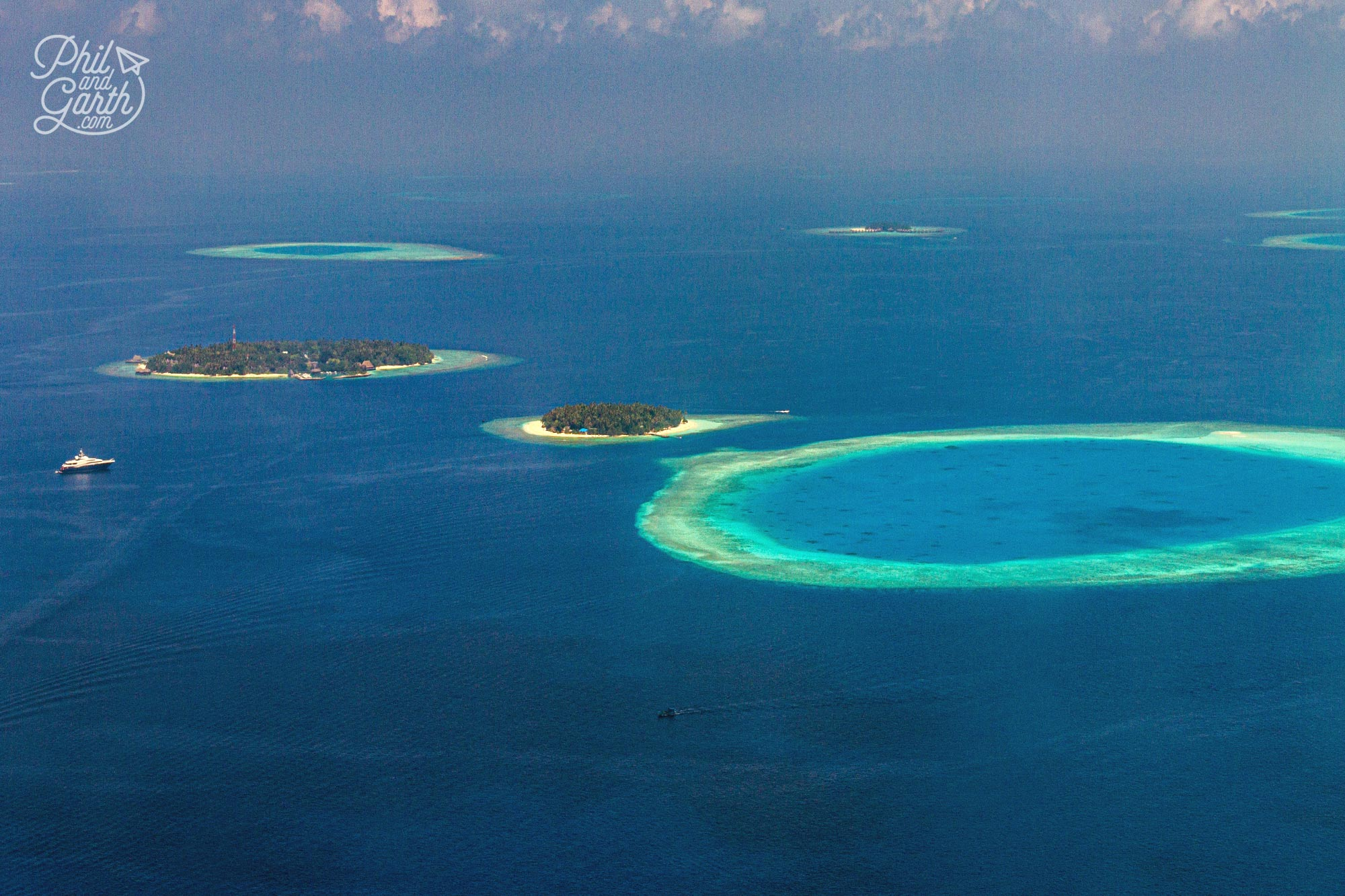 You can see just how many atolls there are from the air