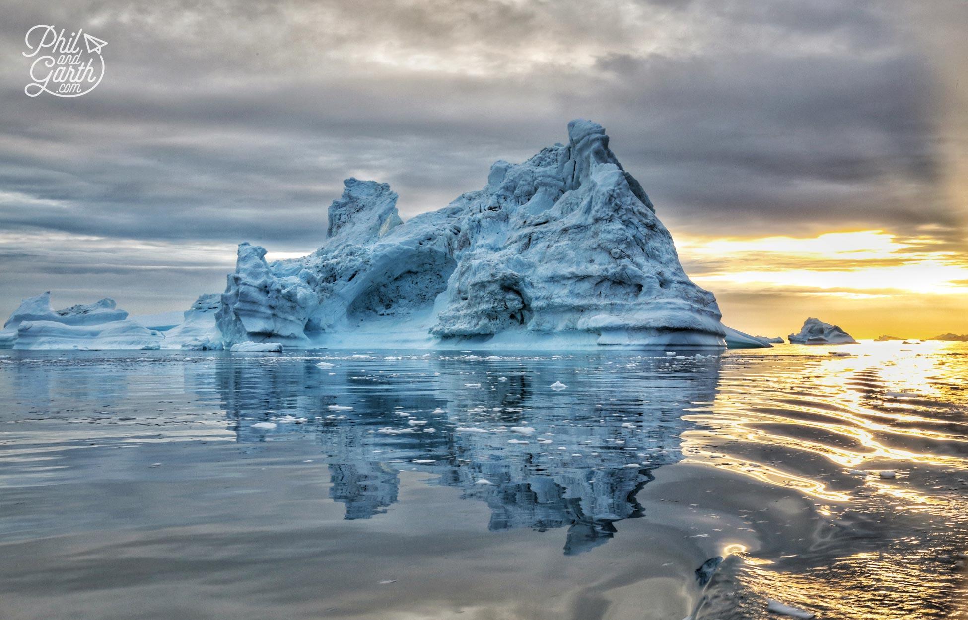An iceberg in the midnight sun, Ilulissat, Greenland
