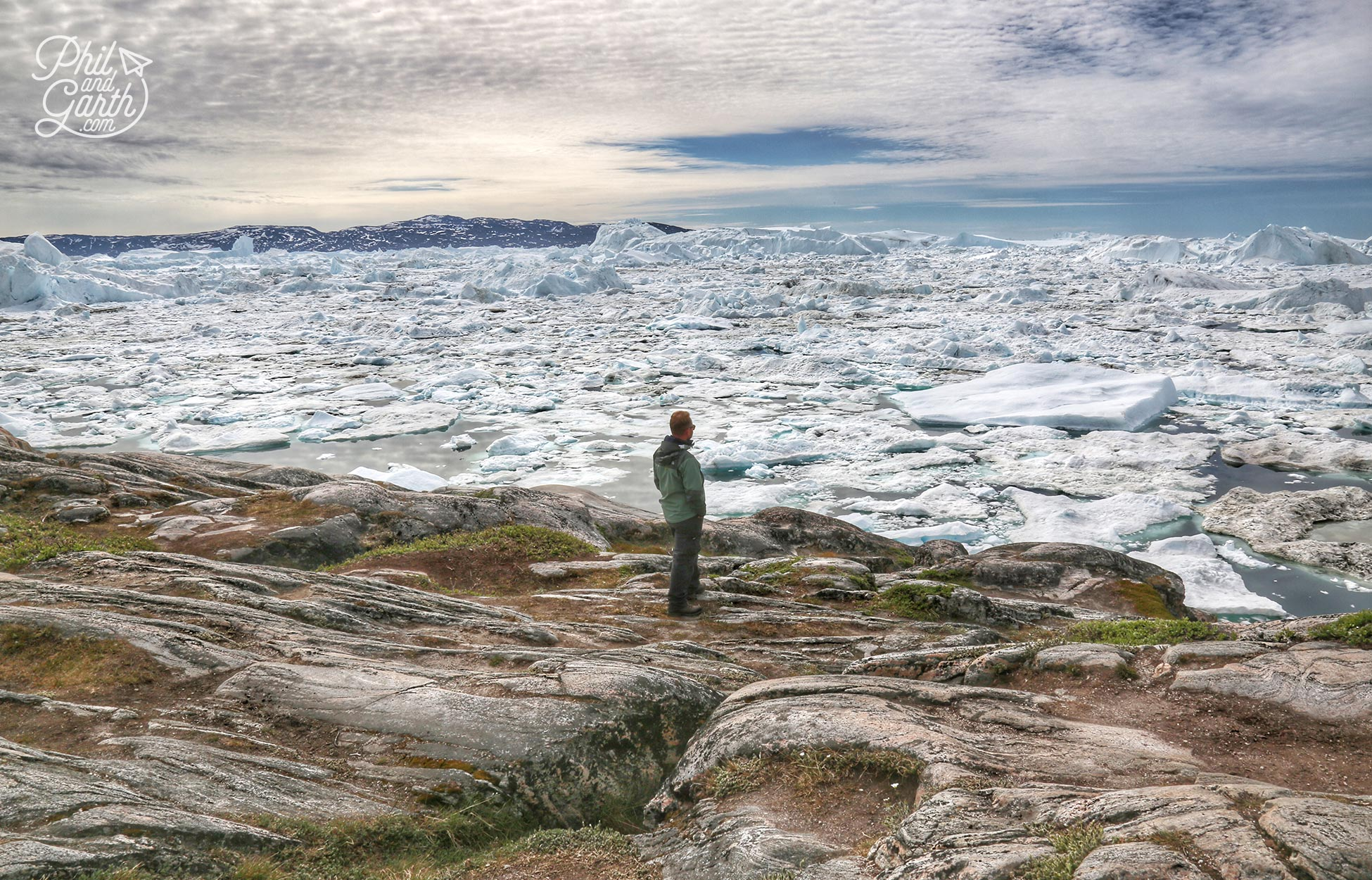 Garth on the edge of Ilulissat Icefjord at Sermermiut, we sat here for an hour or two