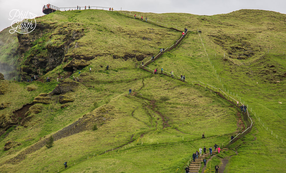 Iceland-south-Skogafoss-waterfall-steps-to-top-travel-review